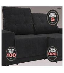 sofá 3 lugares net logan assento retrátil e reclinável preto 2,09m (l)