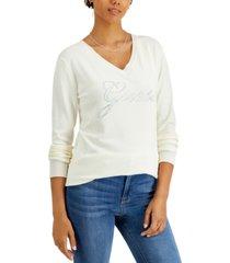 guess doriane rhinestone-logo sweater