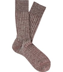 men's suitsupply rib knit dress socks, size large - brown