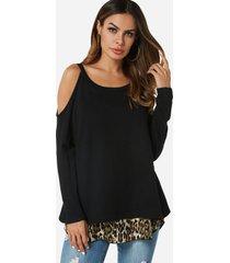 color block leopardo hombro frío manga larga patchwork camisetas