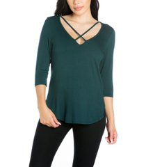 women's criss cross round hemline tunic top