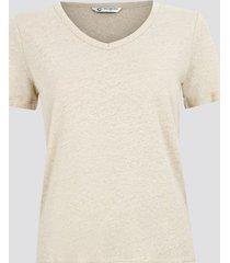 t-shirt i linne med v-ringning - ljusbeige