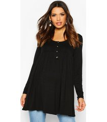 maternity button front smock tunic top, black
