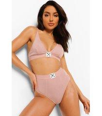 woman geribbelde driehoek bralette met logo, blush