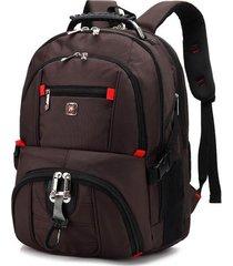 mochila mochila impermeable oxford de carga usb para hombre-marrón