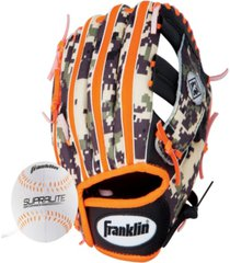 "franklin sports 9.5"" rtp teeball performance glove and ball combo black/orange-left handed thrower"
