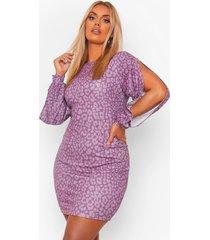 luipaardprint bodycon jurk, purple