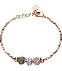 bracciale in metallo rosato con boules strass tricolore per donna