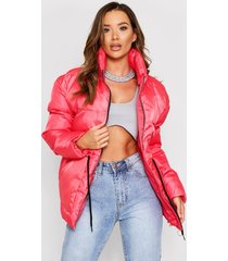 cord tie waist padded jacket, red