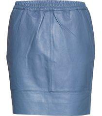 leather skirt w. elastic in waist kort kjol blå coster copenhagen
