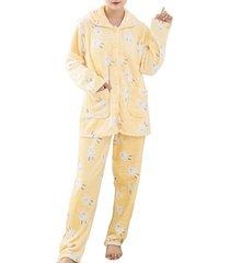 pigiama da donna set flanella girocollo manica lunga tuta calda da casa