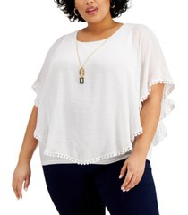 jm collection plus size gauze poncho layered top, created for macy's