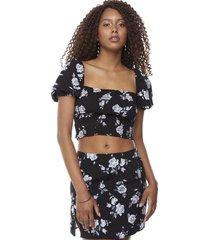 blusa crop panal manga larga globo negro rosas mujer corona