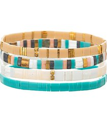 eye candy la women's luxe sandra 4-piece goldtone & cubic zirconia stretch bracelet set