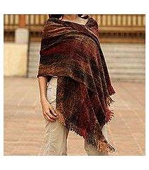 rayon chenille shawl, 'volcano land' (guatemala)