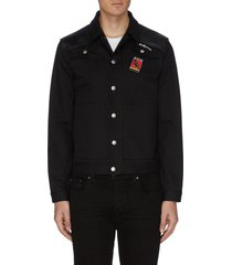 embroidered bird patch leather panel jacket