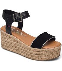 essential flatform sandal sandalette med klack espadrilles svart tommy hilfiger