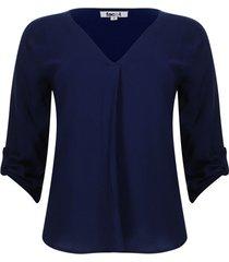 blusa unicolor con charreteras color azul, talla 10