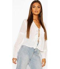 cotton ruffle blouson sleeve blouse, white