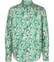 amiri banana leaf satin pajama shirt - green