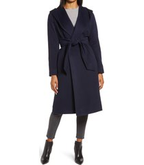 women's hiso shawl alpaca blend hooded wrap coat, size 14 - blue