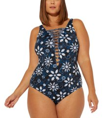 bleu by rod beattie plus size take a dip printed strappy one-piece swimsuit women's swimsuit