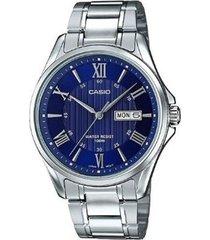 reloj analógico hombre casio mtp-1384d-2a - plateado con azul