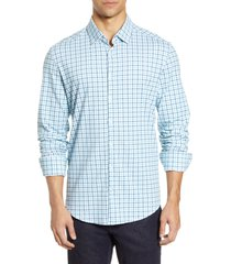 men's stone rose check tech knit button-up shirt, size x-small - blue