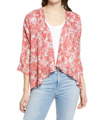 bobeau emily print drape front cardigan, size xx-large in red sage paisley at nordstrom