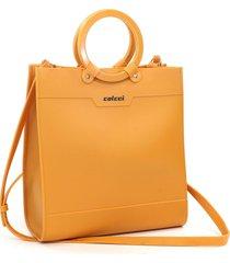 bolsa tiracolo colcci com alça de mão estruturada amarela