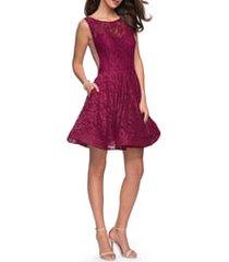women's la femme lace fit & flare cocktail dress, size 4 - burgundy