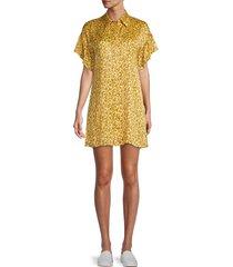 alice + olivia women's jude floral mini shirt dress - yellow - size l
