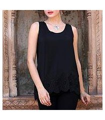 embroidered silk tank top, 'ebony radiance' (india)