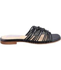 sandalia plana hild-negro-mercedes campuzano