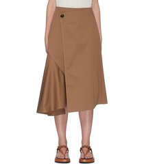 asymmetric waist side pleat midi skirt