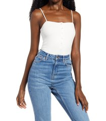 women's lulus so easy ribbed sleeveless bodysuit, size medium - white