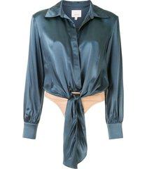 cinq a sept gracie shirt bodysuit - blue