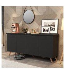 conjunto sala com aparador buffet / mesa de centro e lateral cissa - preto - rpm móveis