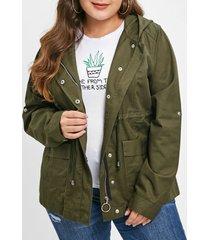 drawstring waist plus size front pockets jacket