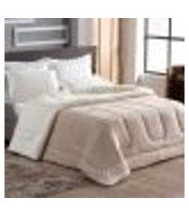 cobertor coberdrom sherpa queen bege dupla face 2,50m x 2,40m tecido pele de carneiro