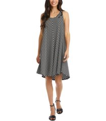 karen kane mitered-stripe high-low sleeveless dress