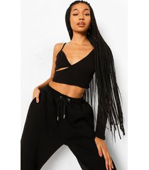 asymmetrische geribbelde crop top, black
