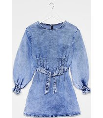 womens jean business denim puff sleeve dress - blue