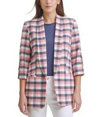 dkny plaid slit-sleeve shawl-collar blazer