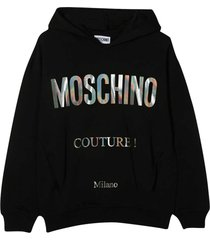 moschino black sweatshirt with hood and silver logo