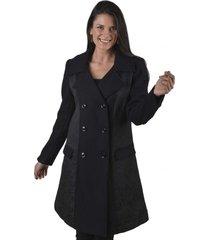 abrigo liso negro alexandra cid