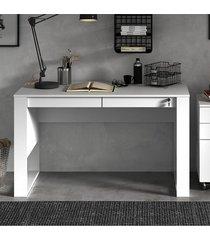mesa escritório 2 gavetas 1 c/ chave branco tecno mobili - tricae
