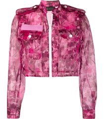 mr & mrs italy blossom camouflage-print cropped jacket - pink