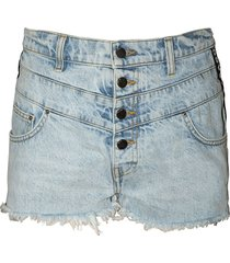 high-waisted frayed hem shorts sky indigo