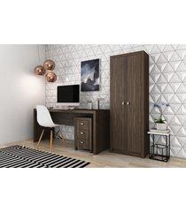 conjunto home office cb06 com escrivaninha armã¡rio alto e gaveteiro 3 gavetas casa da mobãlia nogal - multicolorido - dafiti